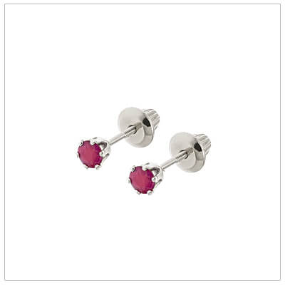 14kt white gold July birthstone earrings for babies and children. These are screw back earrings for children.