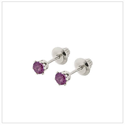 14kt white gold June birthstone earrings for babies and children. These are screw back earrings for children.