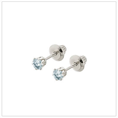 14kt white gold March birthstone earrings for babies and children. These are screw back earrings for children.