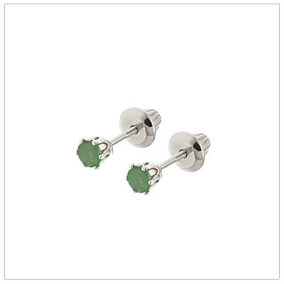 14kt white gold May birthstone earrings for babies and children. These are screw back earrings for children.