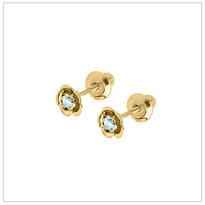 December birthstone earrings for children in 14kt yellow gold. Baby and childrens birthstone earrings in a flower shape.