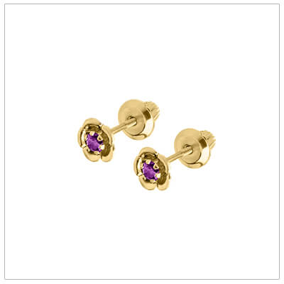 14kt gold February birthstone earrings with a flower shape. Beautiful birthstone earrings for babies and children.