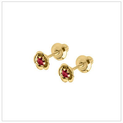 July birthstone earrings for children in 14kt yellow gold. Baby and childrens birthstone earrings in a flower shape.