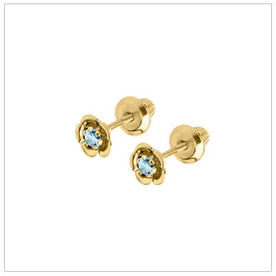 March birthstone earrings for children in 14kt yellow gold. Baby and childrens birthstone earrings in a flower shape.