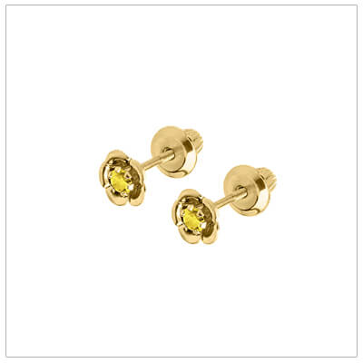 November birthstone earrings for children in 14kt yellow gold. Baby and childrens birthstone earrings in a flower shape.