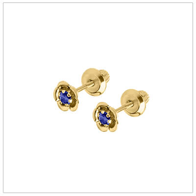 September birthstone earrings for children in 14kt yellow gold. Baby and childrens birthstone earrings in a flower shape.