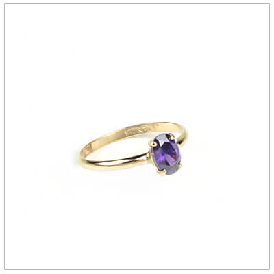 10kt gold birthstone ring for girls with an oval birthstone, February birthstone ring.