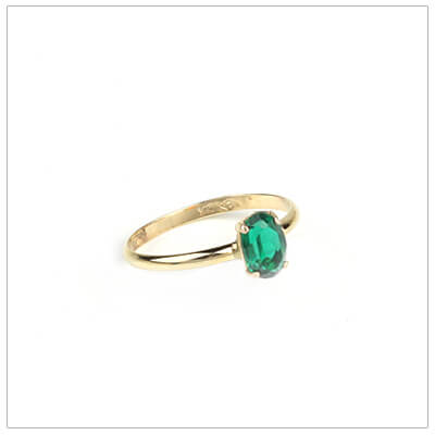 10kt gold birthstone ring for girls with an oval birthstone, May birthstone ring.