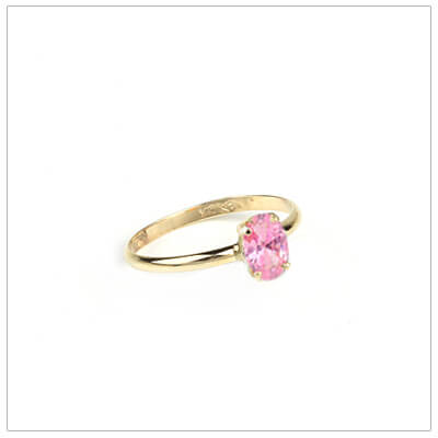10kt gold birthstone ring for girls with an oval birthstone, October birthstone ring.