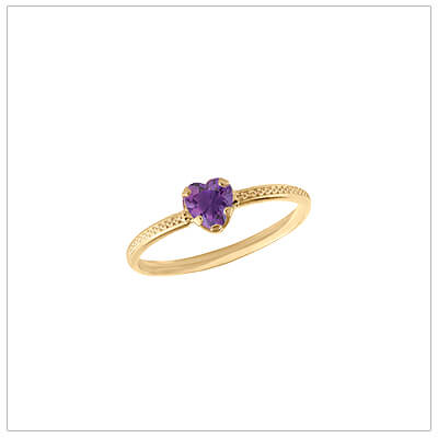 10kt gold heart-shaped birthstone ring with a patterned band, February birthstone ring for children.