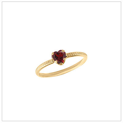 10kt gold heart-shaped birthstone ring with a patterned band, January birthstone ring for children.