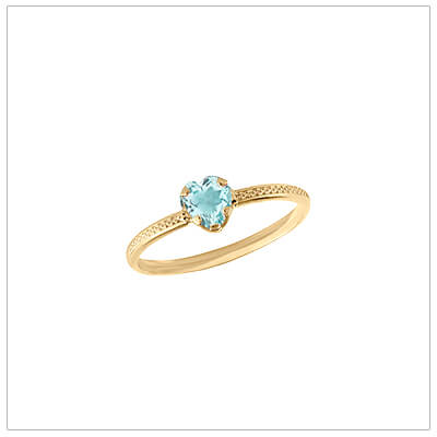 10kt gold heart-shaped birthstone ring with a patterned band, March birthstone ring for children.