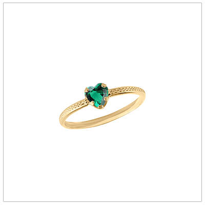 10kt gold heart-shaped birthstone ring with a patterned band, May birthstone ring for children.