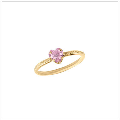 10kt gold heart-shaped birthstone ring with a patterned band, October birthstone ring for children.