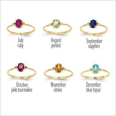 14kt Diamond Birthstone Rings - 1614