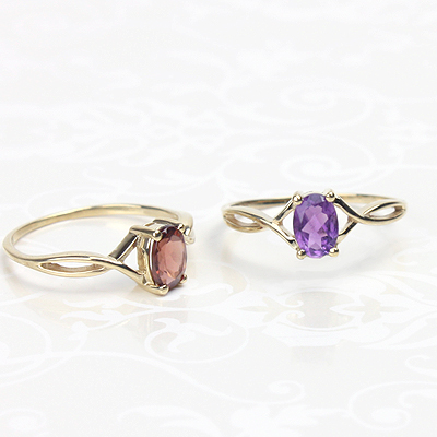 14kt gold birthstone rings with genuine birthstones, available in 3 sizes.