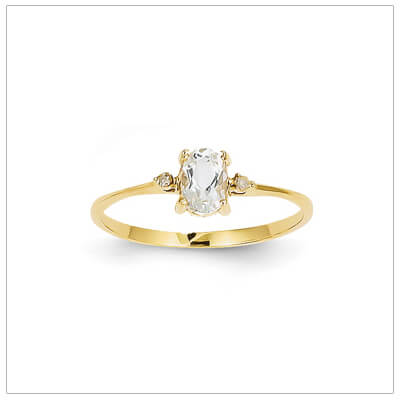 14kt gold diamond and birthstone ring for April with genuine white topaz; 4 sizes available.