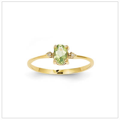 14kt gold diamond and birthstone ring for August with genuine peridot; 4 sizes available.