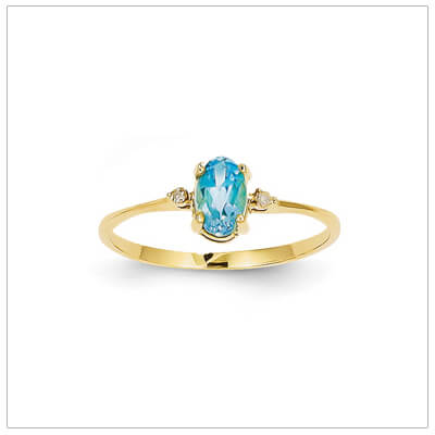 14kt gold diamond and birthstone ring for December with genuine blue topaz; 4 sizes available.