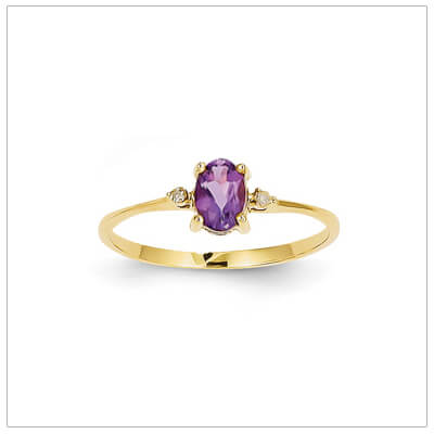 14kt gold diamond and birthstone ring for February with genuine amethyst; 4 sizes available.
