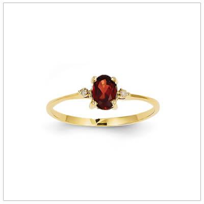 14kt gold diamond and birthstone ring for January with genuine garnet; 4 sizes available.