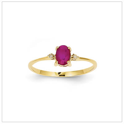 14kt gold diamond and birthstone ring for July with genuine ruby; 4 sizes available.