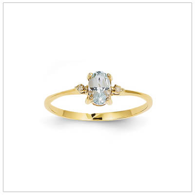 14kt gold diamond and birthstone ring for March with genuine aquamarine; 4 sizes available.