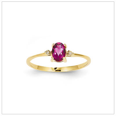 14kt gold diamond and birthstone ring for October with genuine pink tourmaline; 4 sizes available.