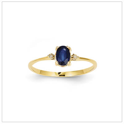14kt gold diamond and birthstone ring for September with genuine sapphire; 4 sizes available.