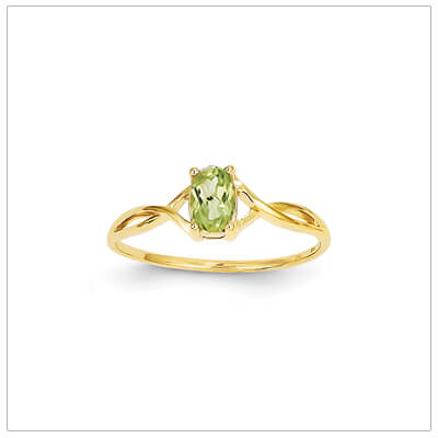 14kt gold birthstone ring for August with a genuine faceted oval peridot.