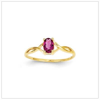 14kt gold birthstone ring for October with a genuine faceted oval pink tourmaline.