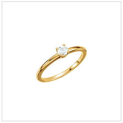 14kt gold April birthstone ring for children with genuine white sapphire.