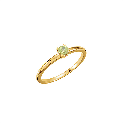 14kt gold August birthstone ring for children with genuine peridot.