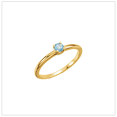 14kt gold December birthstone ring for children with genuine blue topaz.