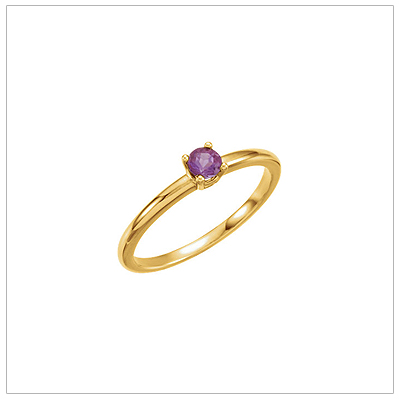14kt gold February birthstone ring for children with genuine amethyst.