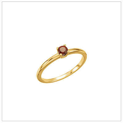 14kt gold January birthstone ring for children with genuine garnet.