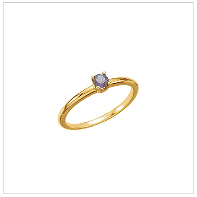 14kt gold June birthstone ring for children with created alexandrite.