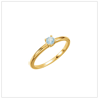 14kt gold March birthstone ring for children with genuine aquamarine.