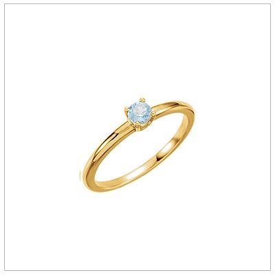 14kt gold March birthstone ring for children with genuine aquamarine.