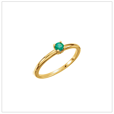 14kt gold May birthstone ring for children with created emerald.