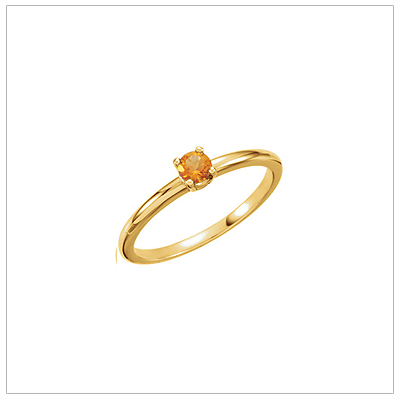 14kt gold Novemberbirthstone ring for children with genuine citrine.