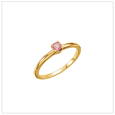 14kt gold October birthstone ring for children with genuine pink tourmaline.