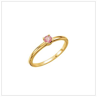 14kt gold October birthstone ring for children with genuine pink tourmaline.