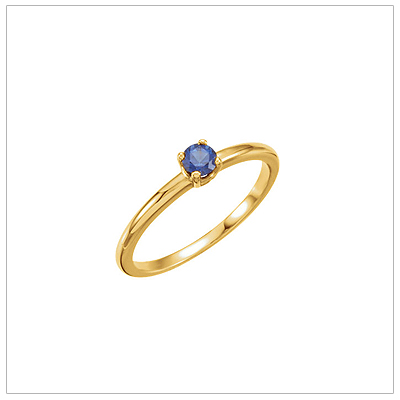 14kt gold September birthstone ring for children with created blue sapphire.