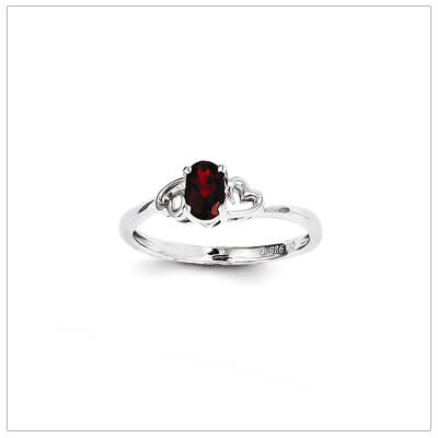 January birthstone ring for girls with genuine birthstone and two side hearts. The birthstone ring is sterling silver, available in 3 sizes.