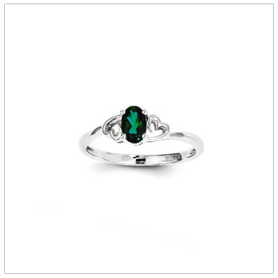 May birthstone ring for girls with created emerald birthstone and two side hearts. The birthstone ring is sterling silver, available in 3 sizes.