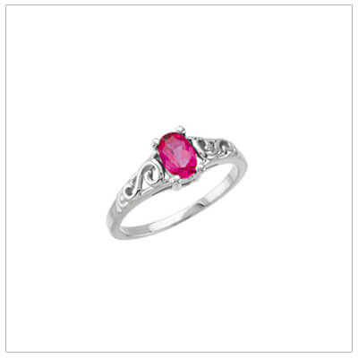 Sterling silver July birthstone ring for girls with a swirl pattern on the band.