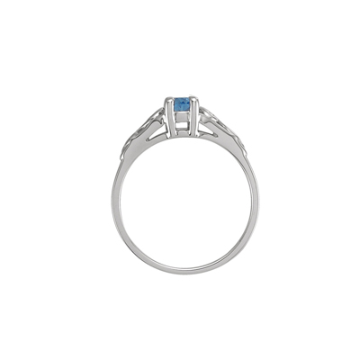 Side view of March birthstone ring.