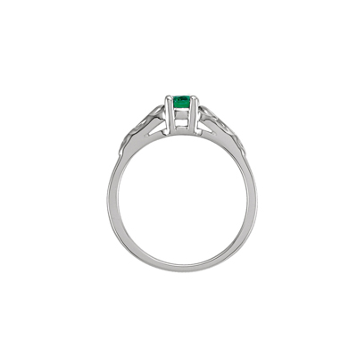 Side view of May birthstone ring.