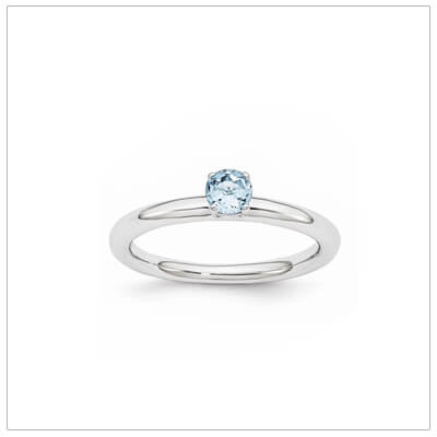 Classic styled solitaire birthstone ring for December in sterling silver. Sizes available for children, teens, and adults.
